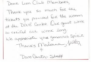 Dove Center Thank You note