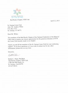 Thank You note from National Federation of the Blind